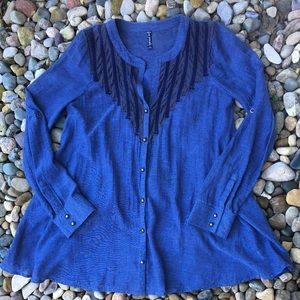 Free People Button Down Chambray Loose Top Medium